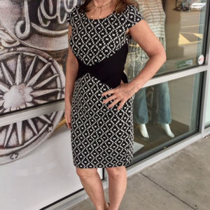 Black and White Patterned Sangria Dress
